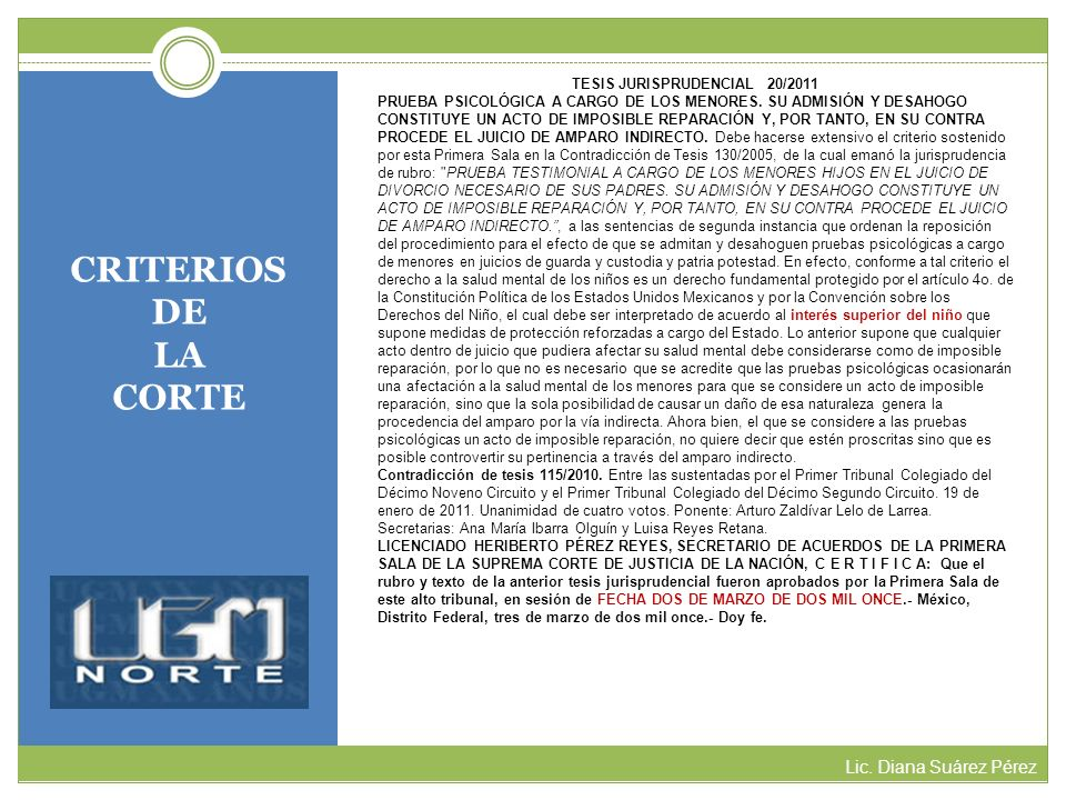 TESIS JURISPRUDENCIAL 20/2011