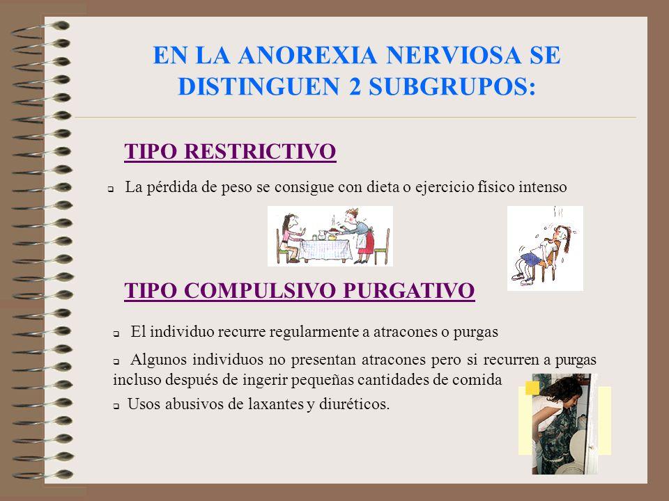 EN LA ANOREXIA NERVIOSA SE DISTINGUEN 2 SUBGRUPOS: