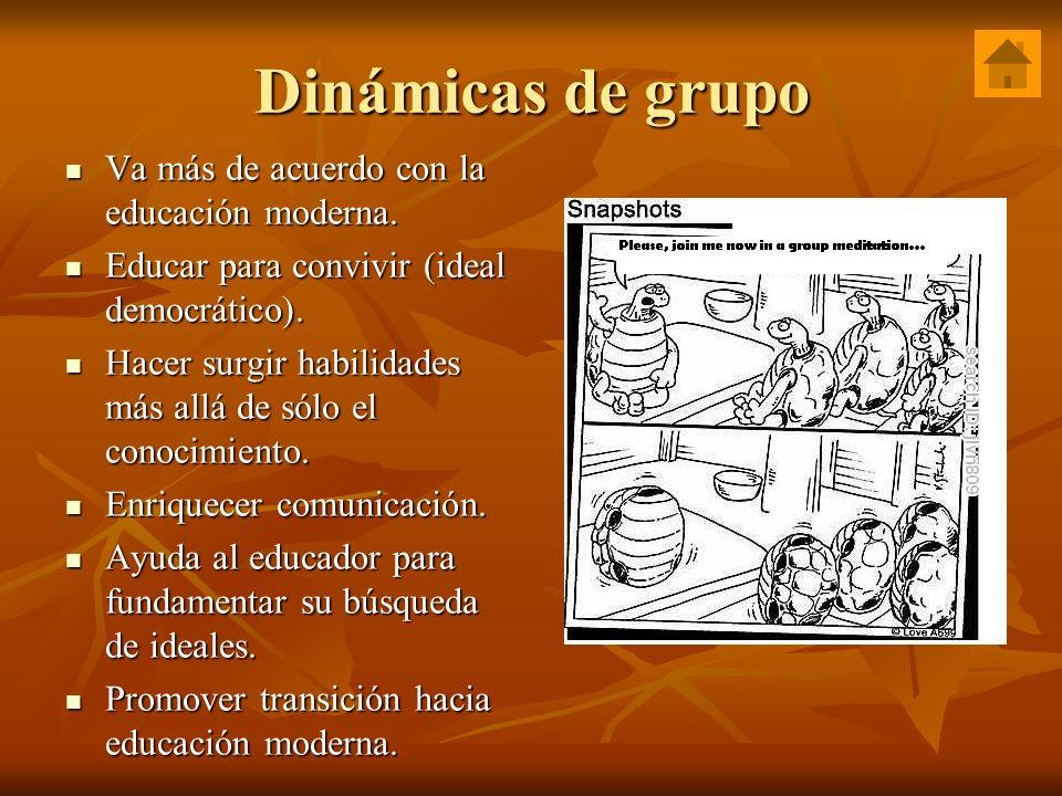 Dinámicas de grupo Va más de acuerdo con la educación moderna.