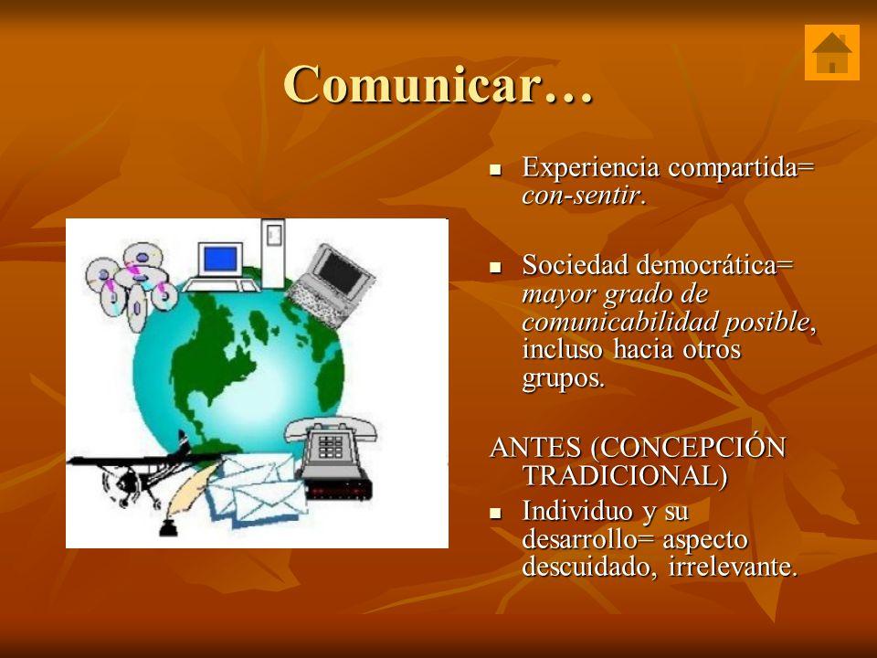 Comunicar… Experiencia compartida= con-sentir.
