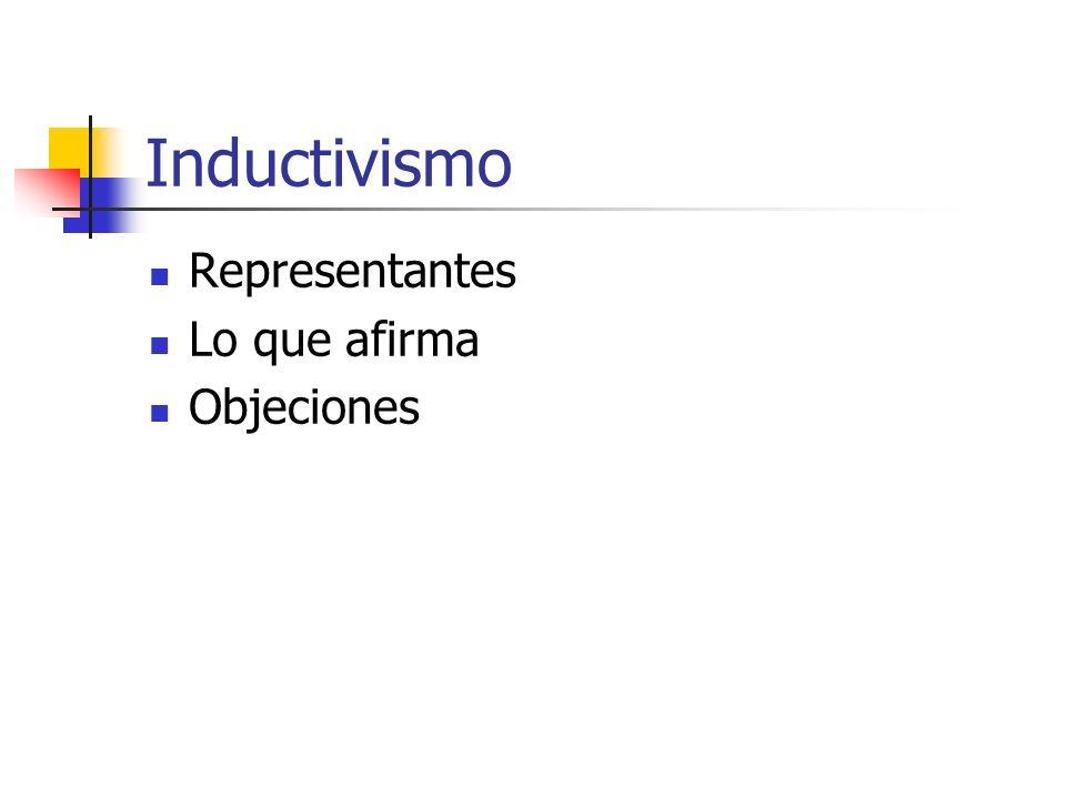 Inductivismo Representantes Lo que afirma Objeciones