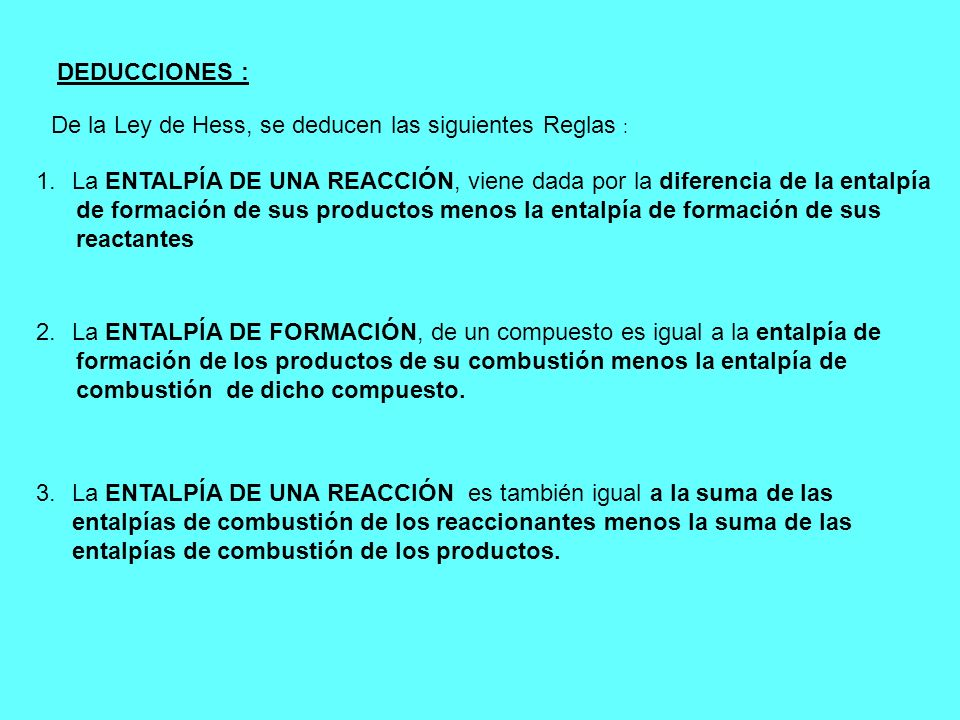 DEDUCCIONES : De la Ley de Hess, se deducen las siguientes Reglas : La ENTALPÍA DE UNA REACCIÓN, viene dada por la diferencia de la entalpía.