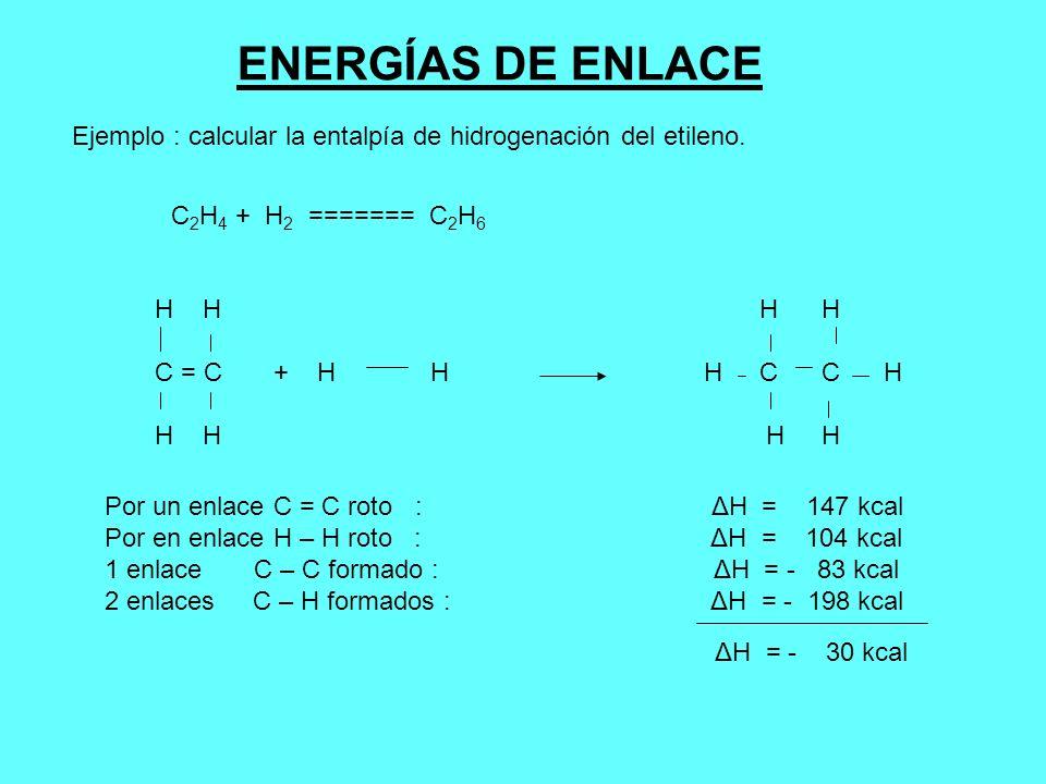 ENERGÍAS DE ENLACEEjemplo : calcular la entalpía de hidrogenación del etileno. C2H4 + H2 ======= C2H6.