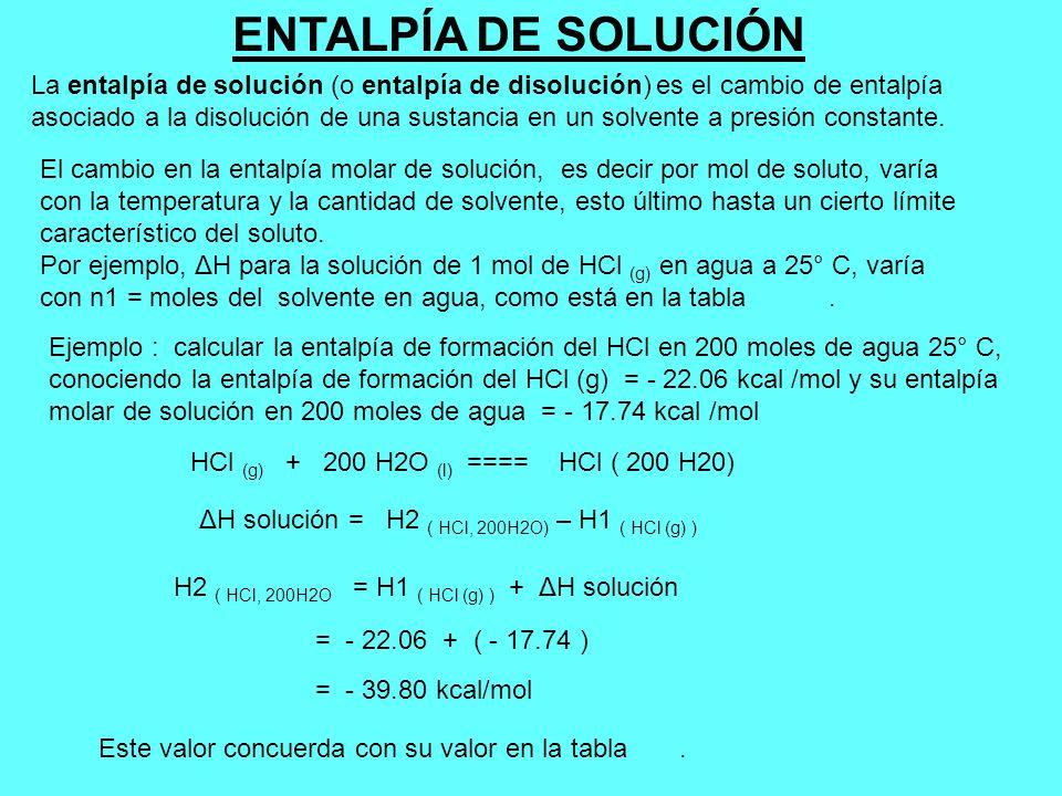 ENTALPÍA DE SOLUCIÓN La entalpía de solución (o entalpía de disolución) es el cambio de entalpía.