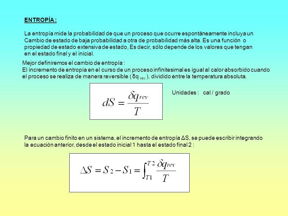 ENTROPÍA :La entropía mide la probabilidad de que un proceso que ocurre espontáneamente incluya un.