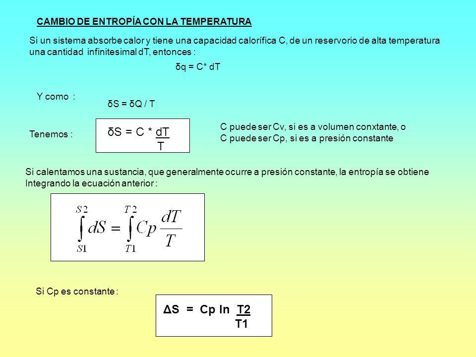 δS = C * dT T ΔS = Cp ln T2 T1 CAMBIO DE ENTROPÍA CON LA TEMPERATURA