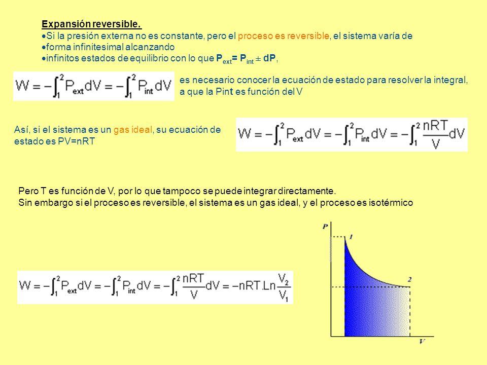 Expansión reversible. Si la presión externa no es constante, pero el proceso es reversible, el sistema varía de.