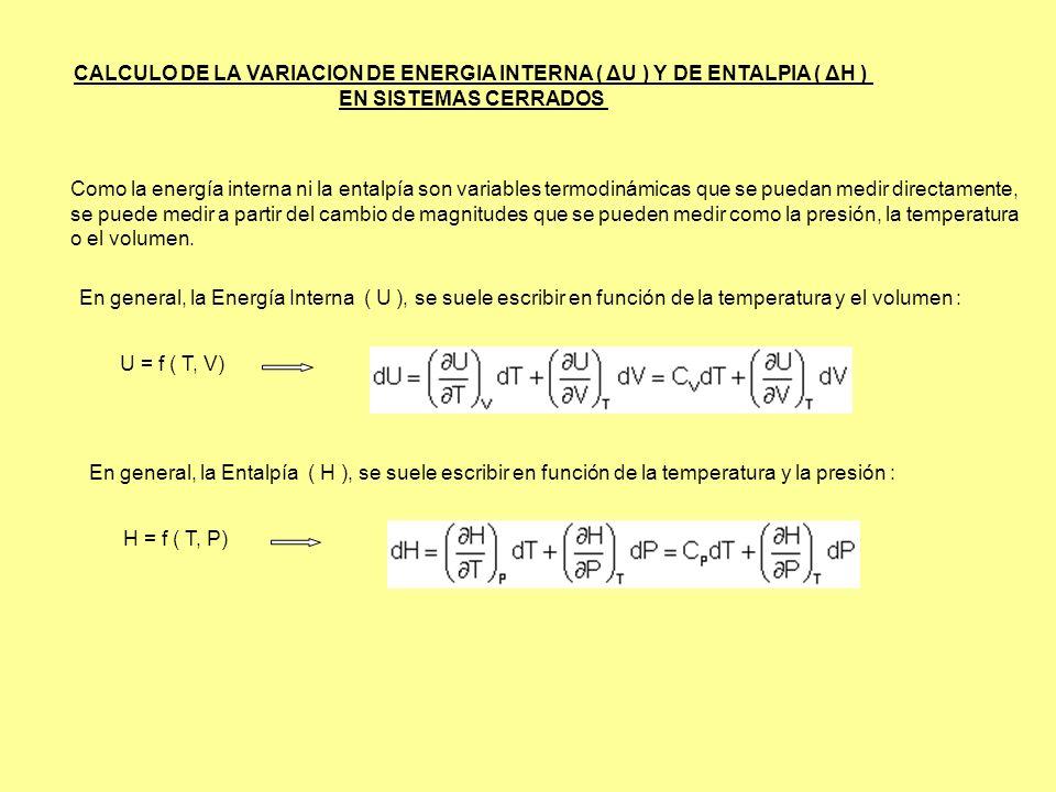 CALCULO DE LA VARIACION DE ENERGIA INTERNA ( ΔU ) Y DE ENTALPIA ( ΔH )