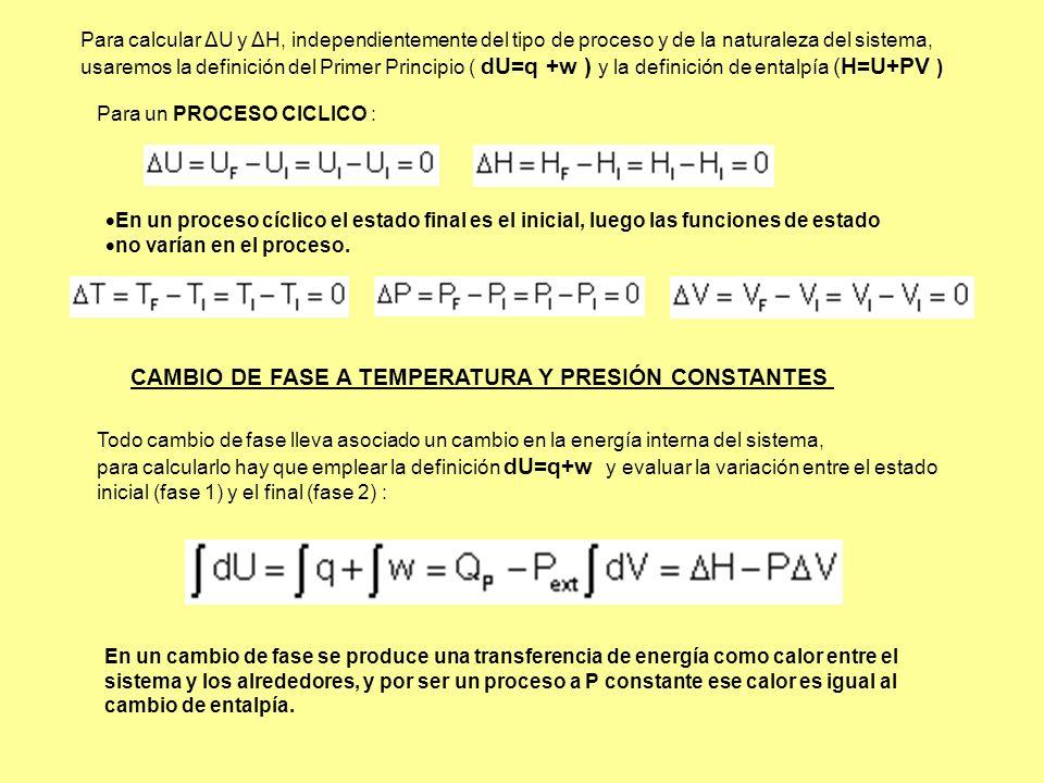 CAMBIO DE FASE A TEMPERATURA Y PRESIÓN CONSTANTES
