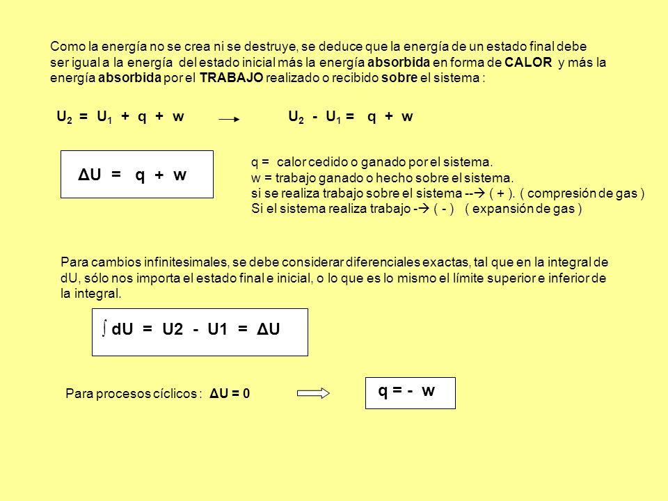 ΔU = q + w ∫ dU = U2 - U1 = ΔU q = - w U2 = U1 + q + w U2 - U1 = q + w