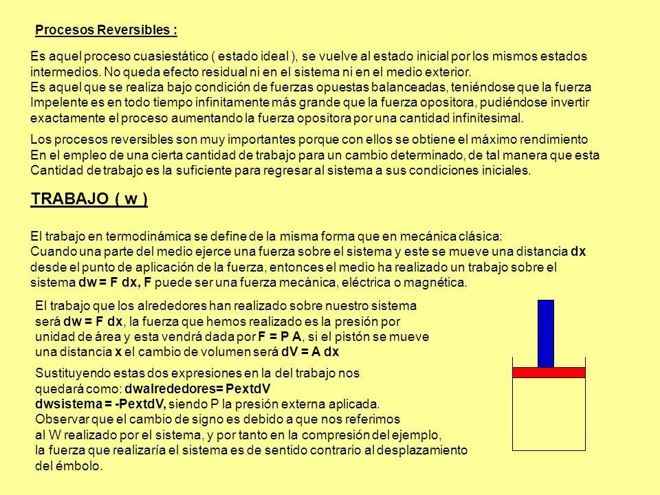 TRABAJO ( w ) Procesos Reversibles :