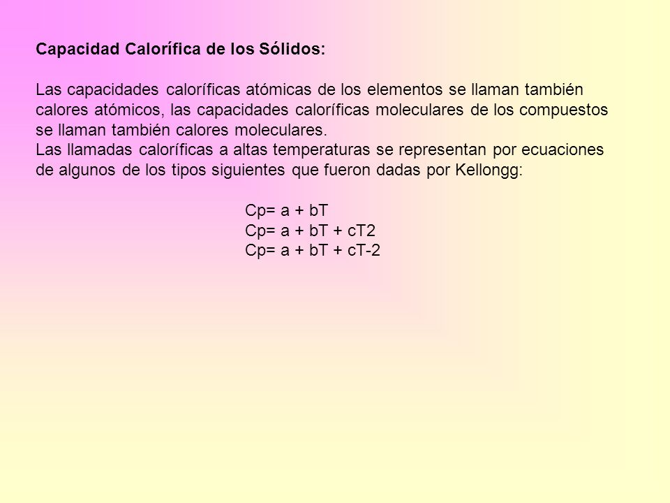 Capacidad Calorífica de los Sólidos: