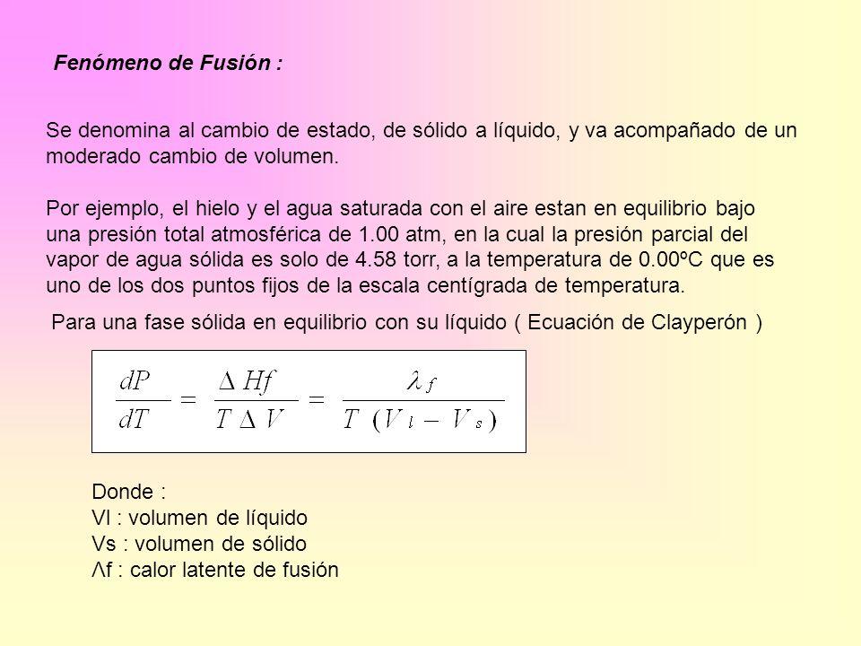 Fenómeno de Fusión : Se denomina al cambio de estado, de sólido a líquido, y va acompañado de un.