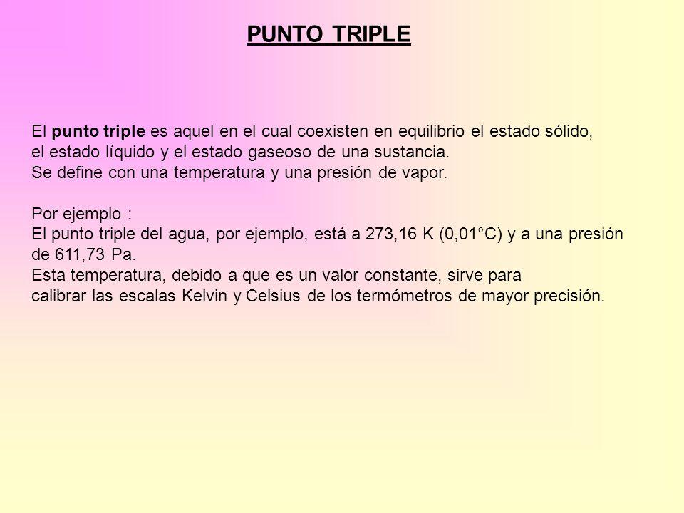 PUNTO TRIPLE El punto triple es aquel en el cual coexisten en equilibrio el estado sólido, el estado líquido y el estado gaseoso de una sustancia.