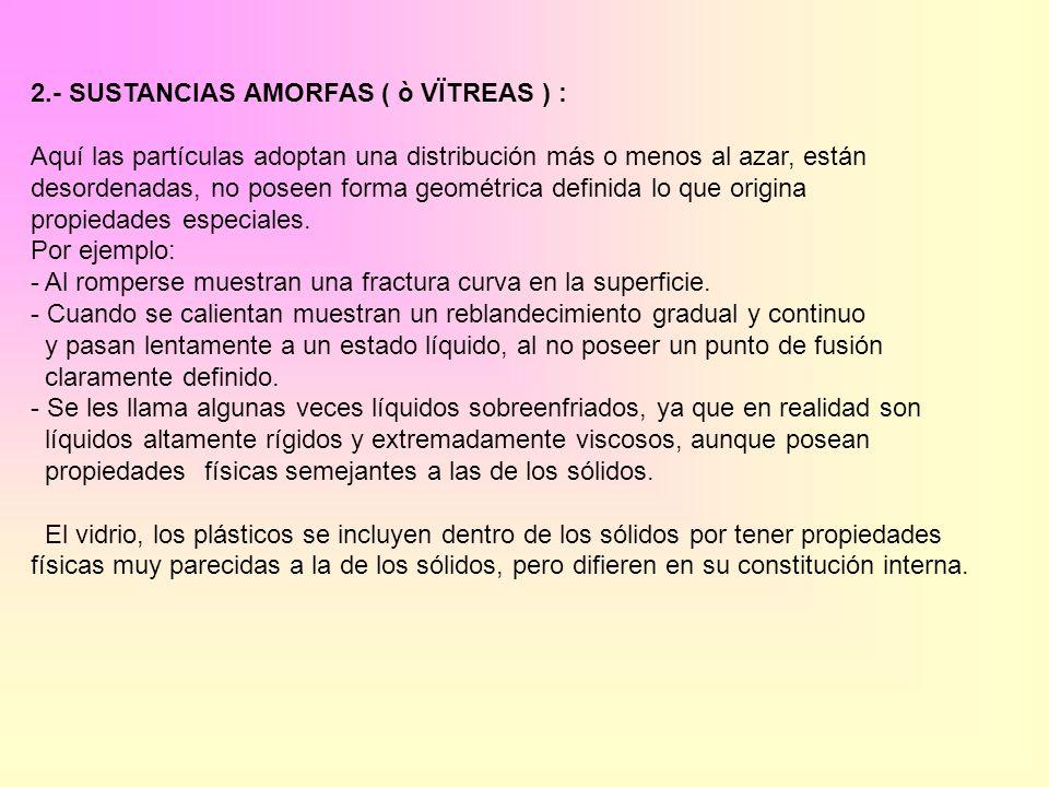 2.- SUSTANCIAS AMORFAS ( ò VÏTREAS ) :