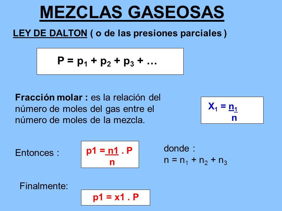 MEZCLAS GASEOSAS P = p1 + p2 + p3 + …