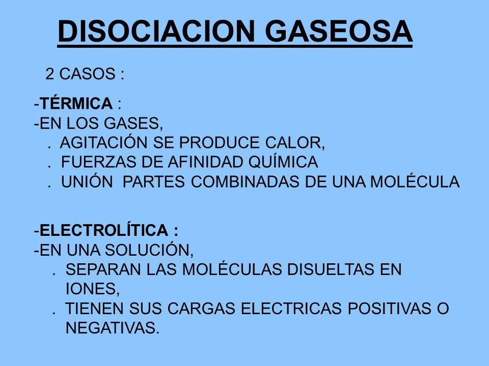 DISOCIACION GASEOSA 2 CASOS : TÉRMICA : EN LOS GASES,