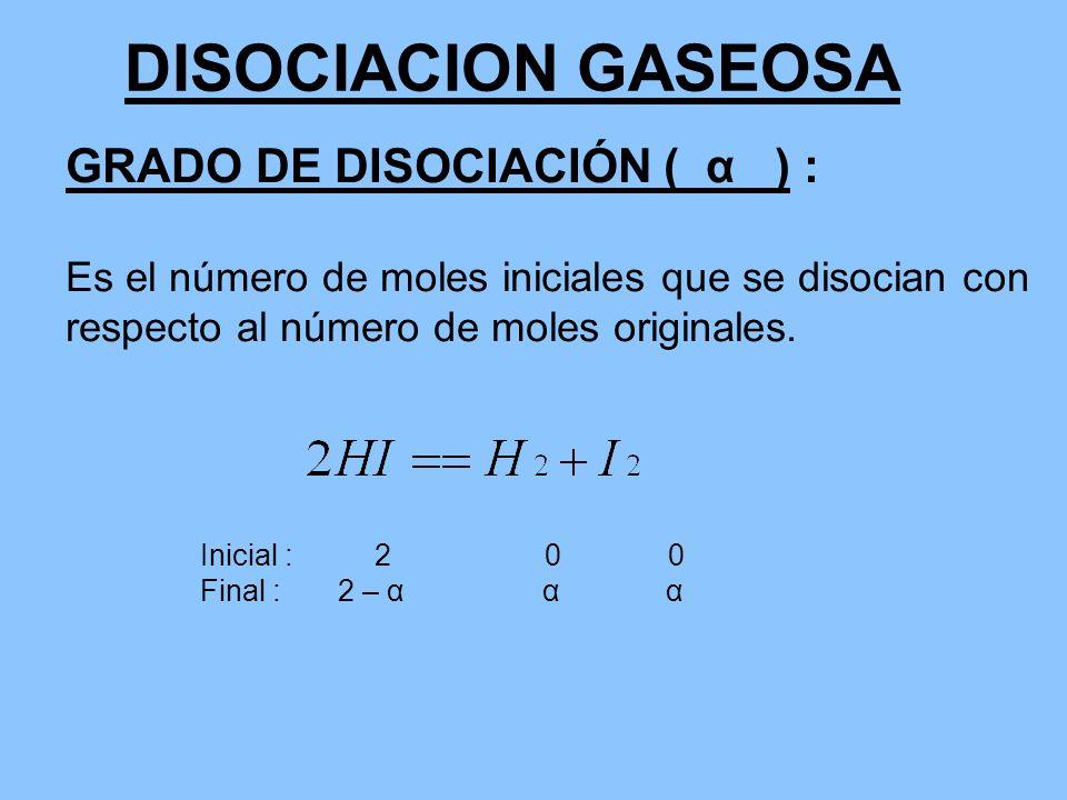 DISOCIACION GASEOSA GRADO DE DISOCIACIÓN ( α ) :