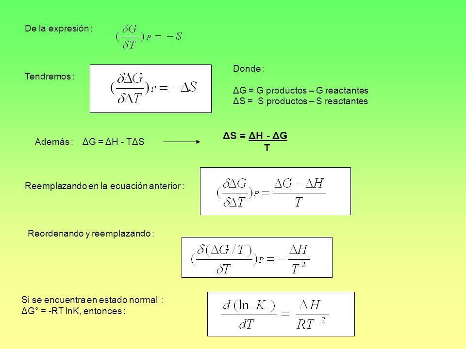 ΔS = ΔH - ΔG T De la expresión : Donde : Tendremos :