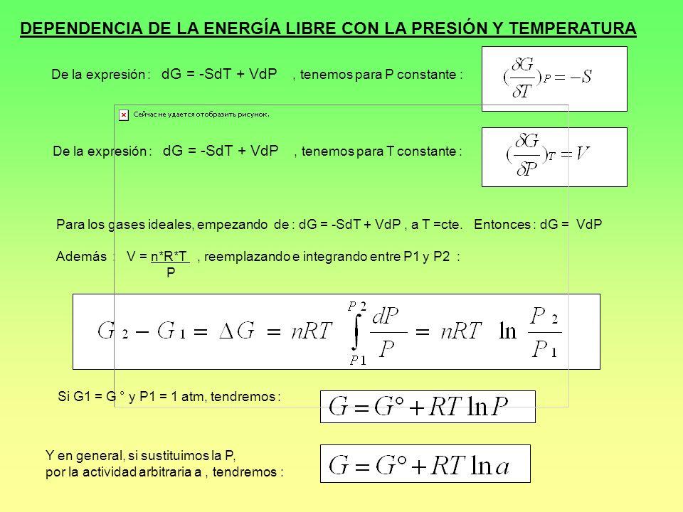 DEPENDENCIA DE LA ENERGÍA LIBRE CON LA PRESIÓN Y TEMPERATURA