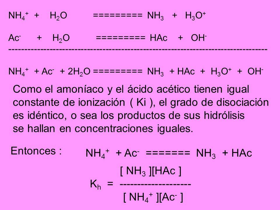 Como el amoníaco y el ácido acético tienen igual