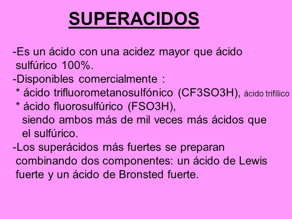 SUPERACIDOS Es un ácido con una acidez mayor que ácido sulfúrico 100%.