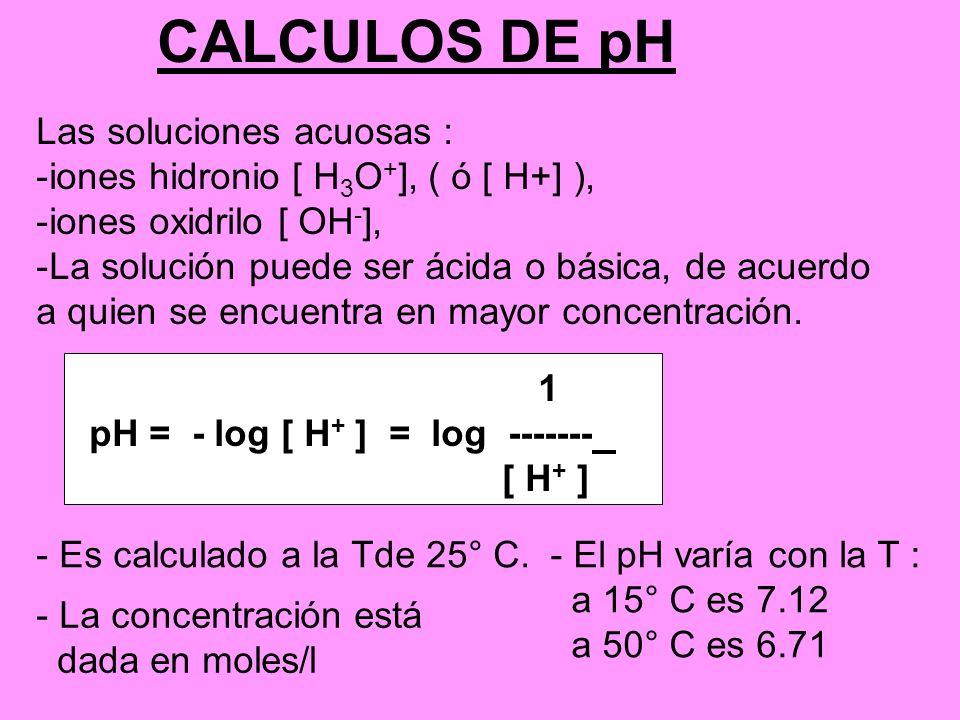 CALCULOS DE pH Las soluciones acuosas :