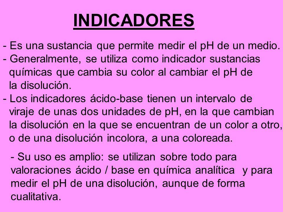 INDICADORES - Es una sustancia que permite medir el pH de un medio.