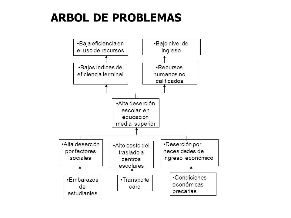 ARBOL DE PROBLEMAS Baja eficiencia en el uso de recursos