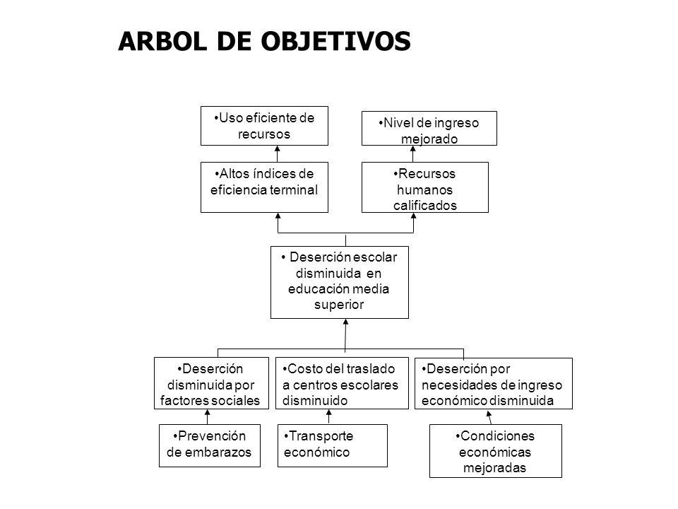 ARBOL DE OBJETIVOS Uso eficiente de recursos Nivel de ingreso mejorado