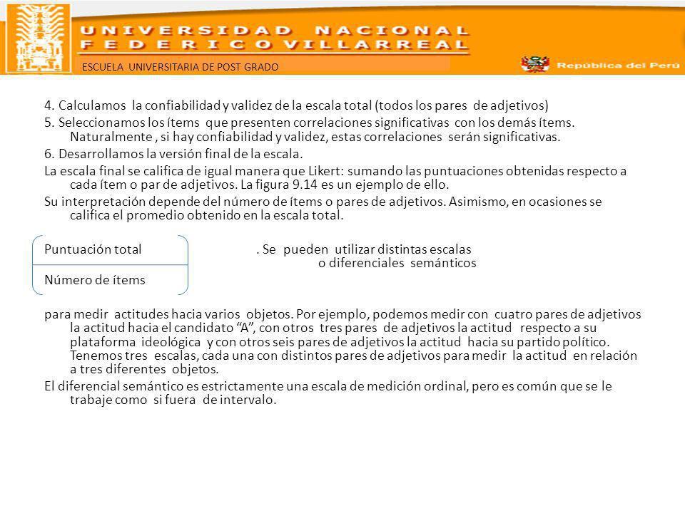 4. Calculamos la confiabilidad y validez de la escala total (todos los pares de adjetivos) 5.