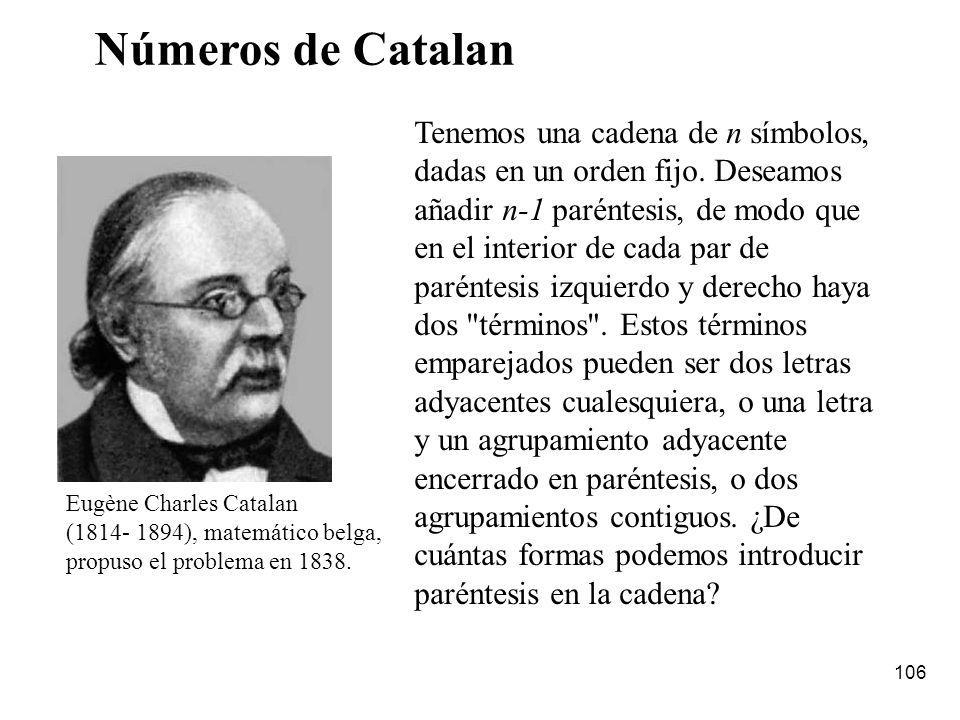 Números de Catalan Tenemos una cadena de n símbolos,