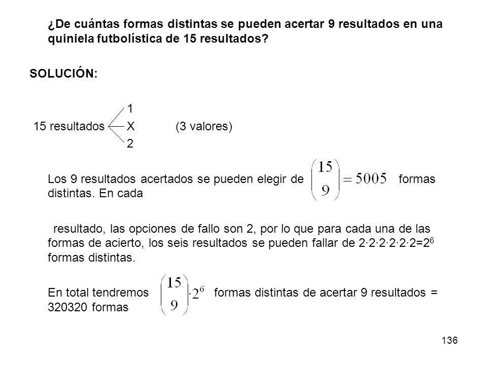 15 resultados X (3 valores) 2