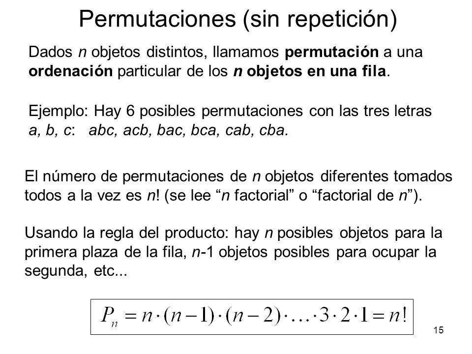 Permutaciones (sin repetición)