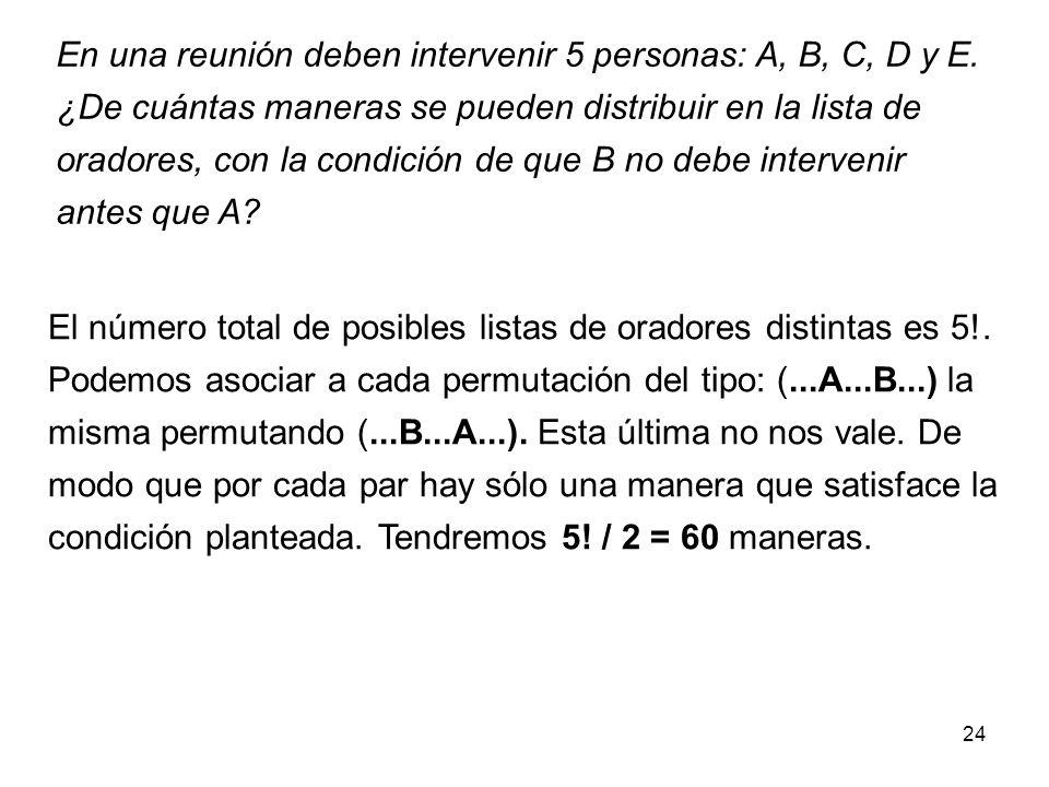 En una reunión deben intervenir 5 personas: A, B, C, D y E.