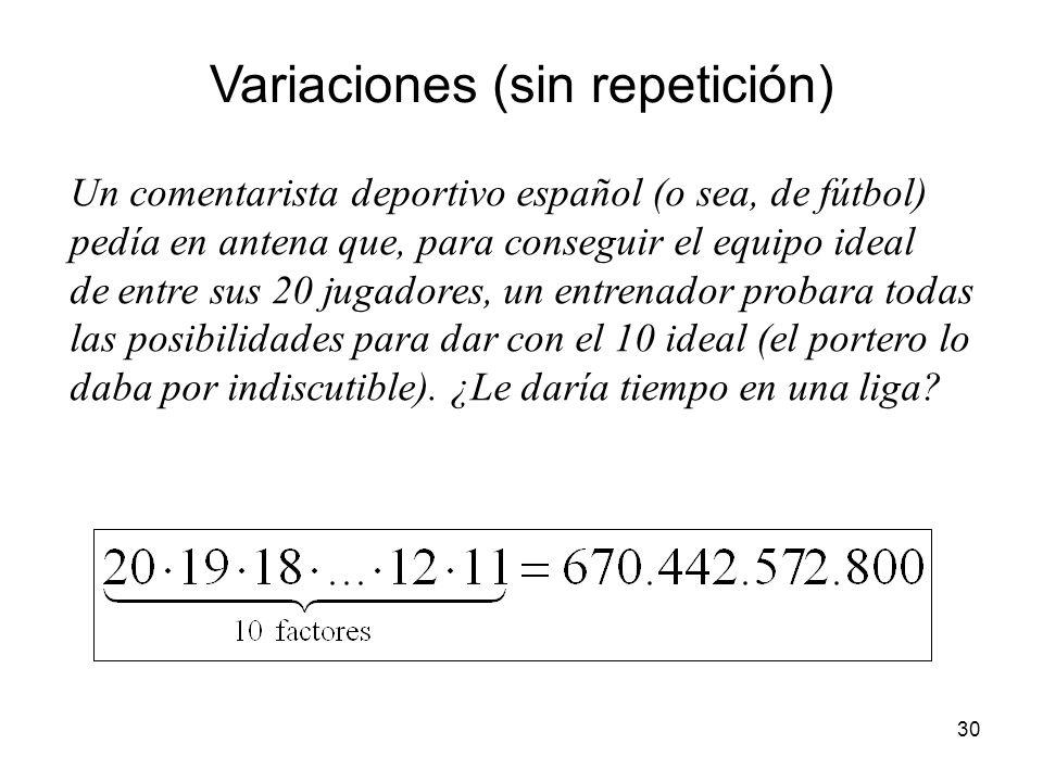 Variaciones (sin repetición)