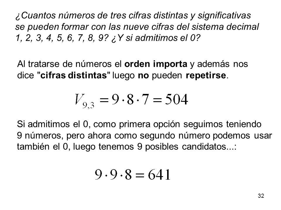 ¿Cuantos números de tres cifras distintas y significativas