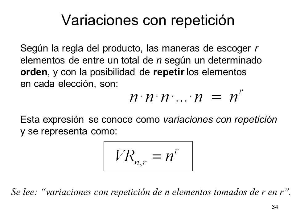 Variaciones con repetición