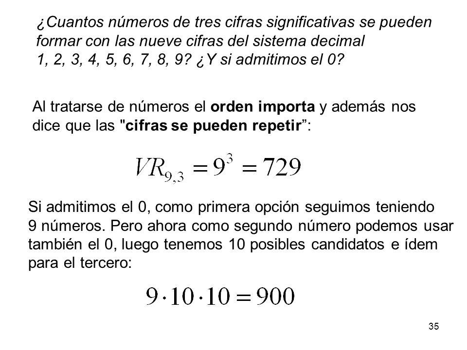 ¿Cuantos números de tres cifras significativas se pueden