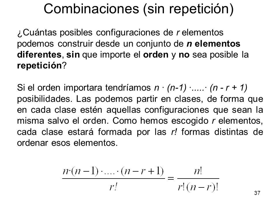 Combinaciones (sin repetición)