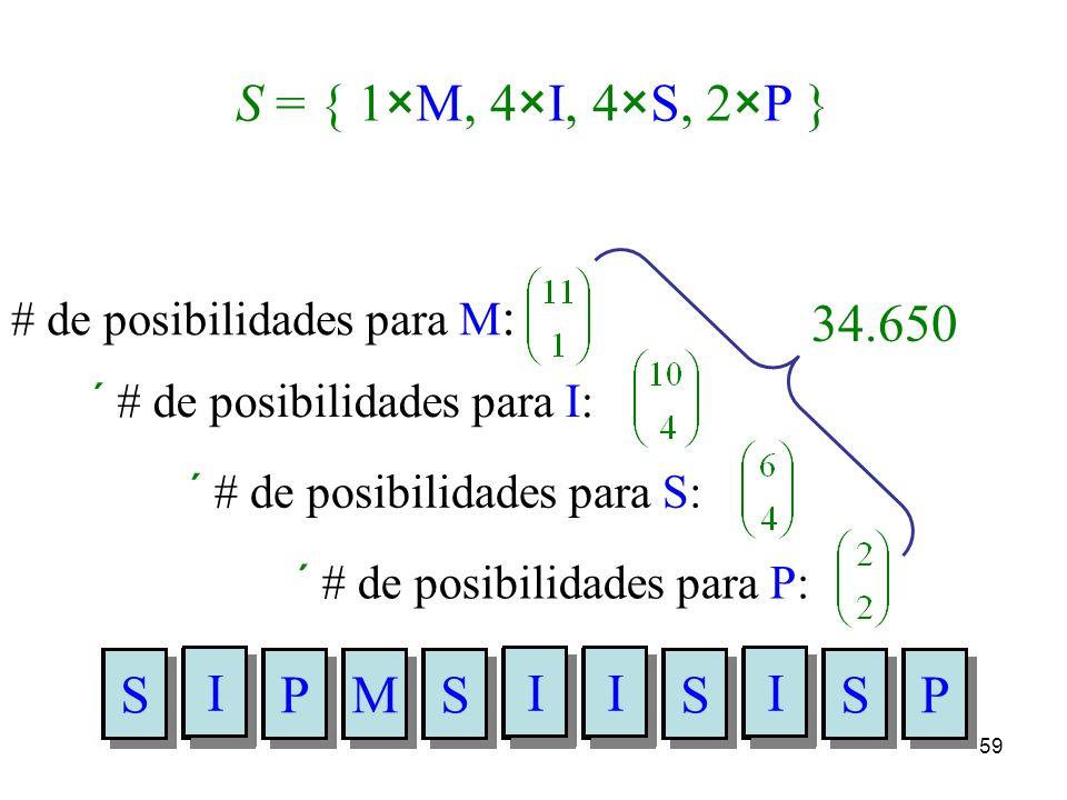 S = { 1×M, 4×I, 4×S, 2×P } 34.650 I S P M # de posibilidades para M: