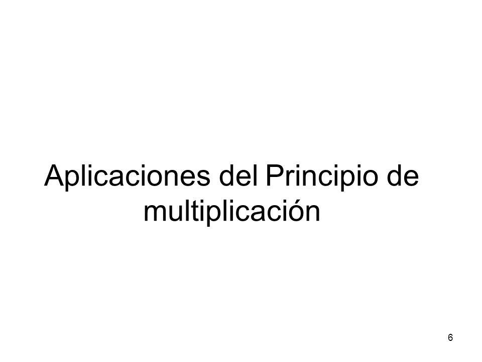 Aplicaciones del Principio de multiplicación