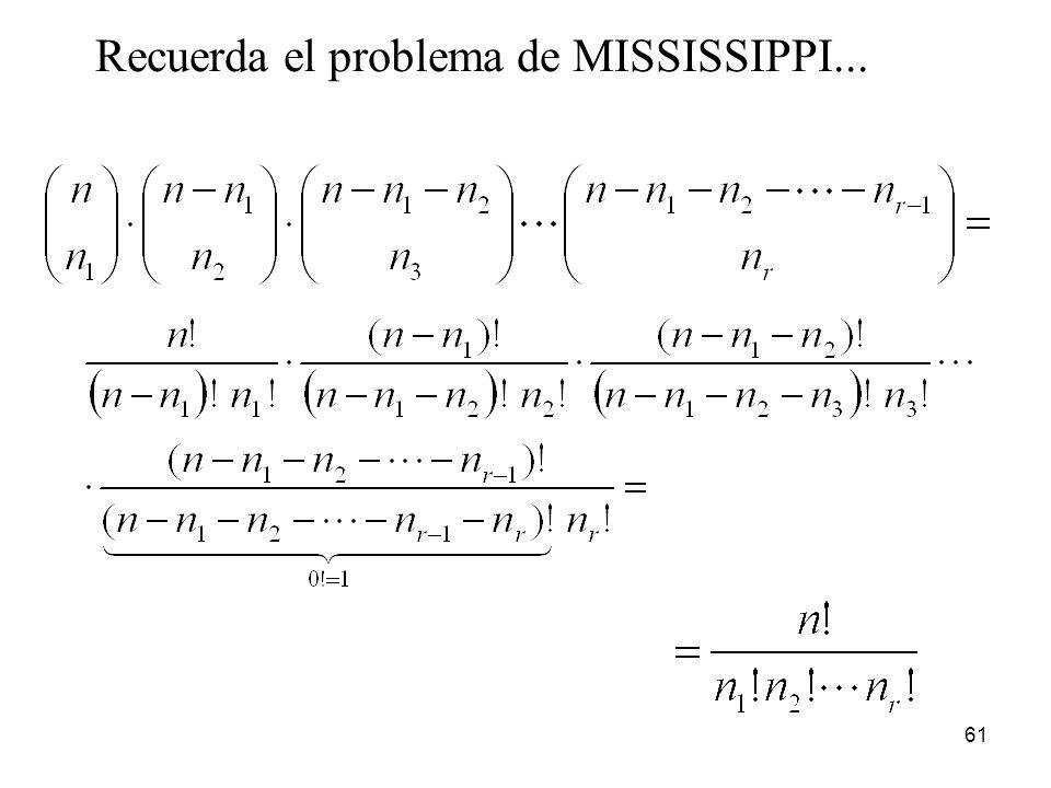 Recuerda el problema de MISSISSIPPI...