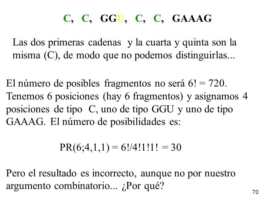C, C, GGU, C, C, GAAAG Las dos primeras cadenas y la cuarta y quinta son la. misma (C), de modo que no podemos distinguirlas...