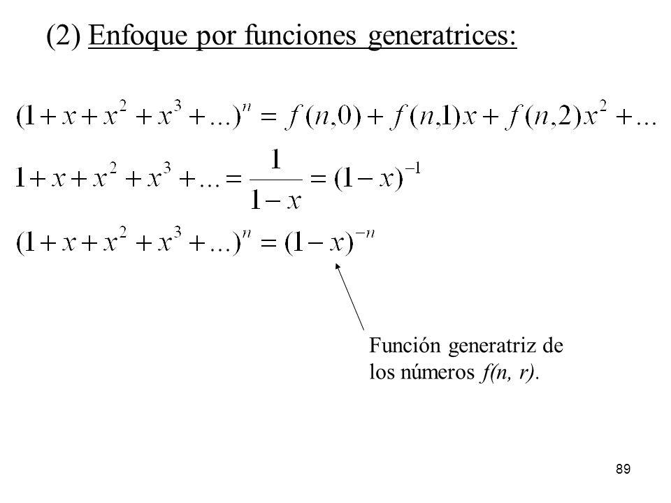 (2) Enfoque por funciones generatrices: