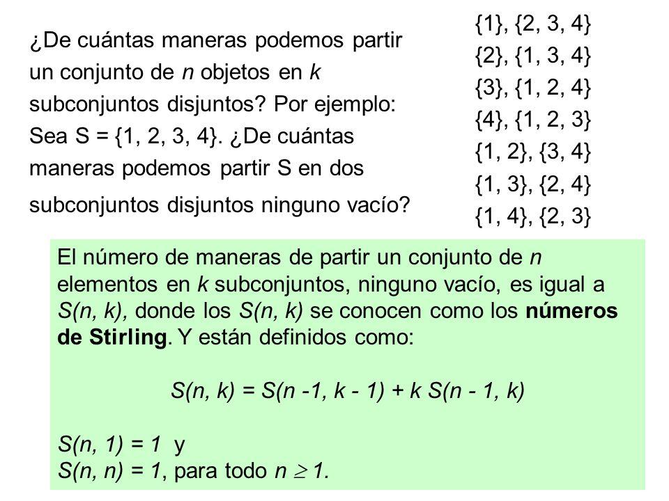 S(n, k) = S(n -1, k - 1) + k S(n - 1, k)