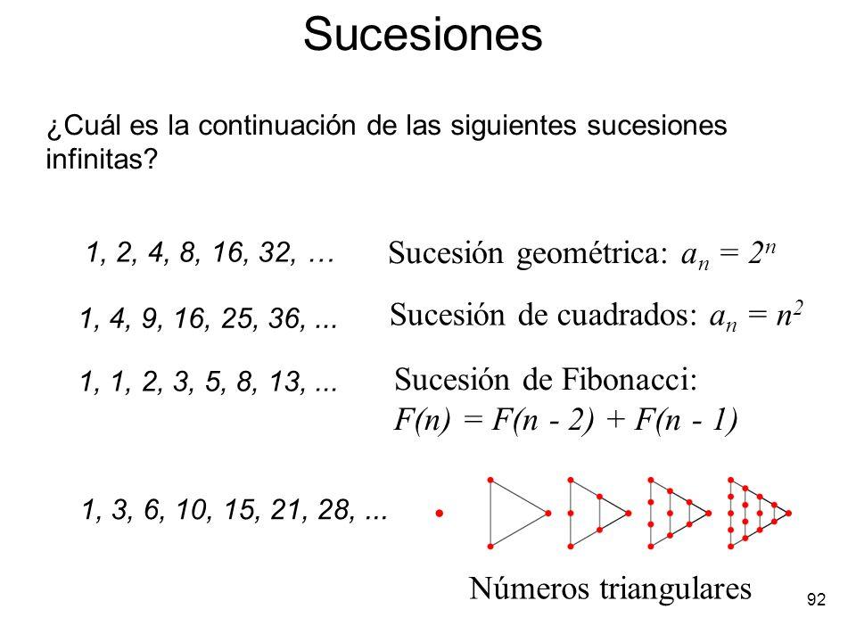 Sucesiones Sucesión geométrica: an = 2n Sucesión de cuadrados: an = n2