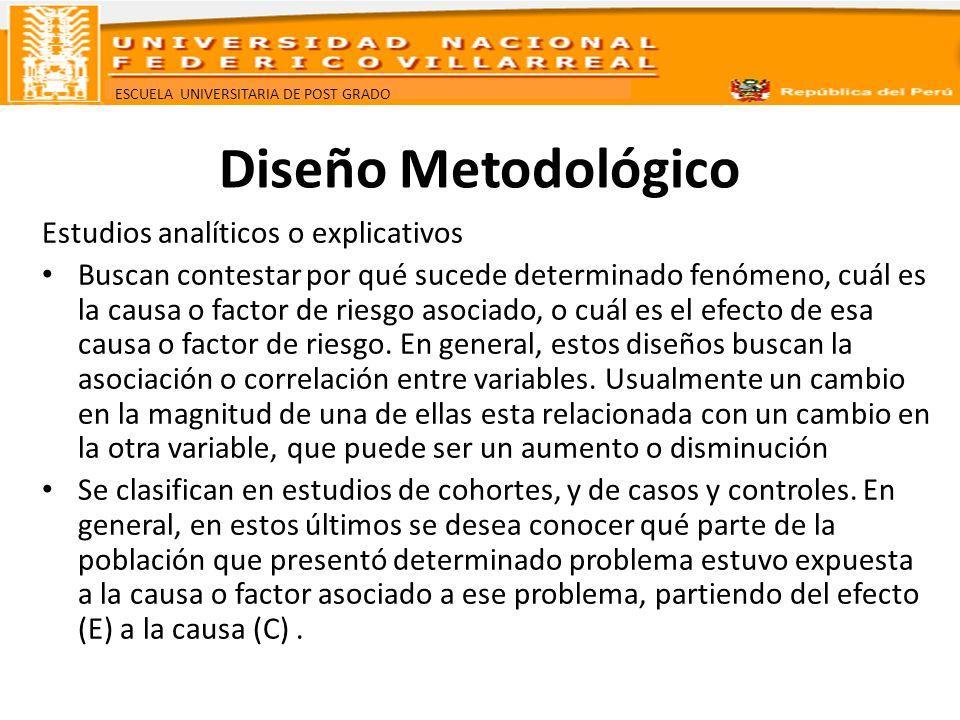 Diseño Metodológico Estudios analíticos o explicativos