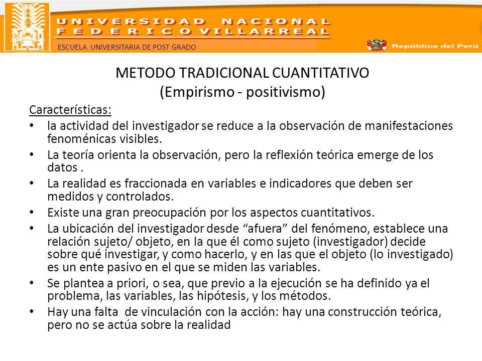 METODO TRADICIONAL CUANTITATIVO (Empirismo - positivismo)