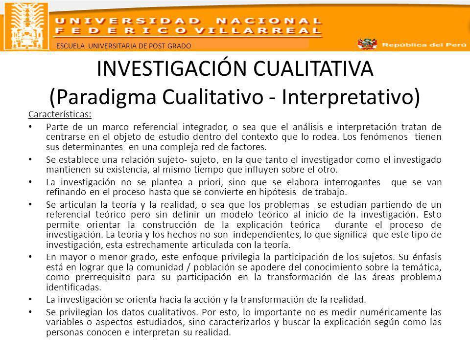 INVESTIGACIÓN CUALITATIVA (Paradigma Cualitativo - Interpretativo)